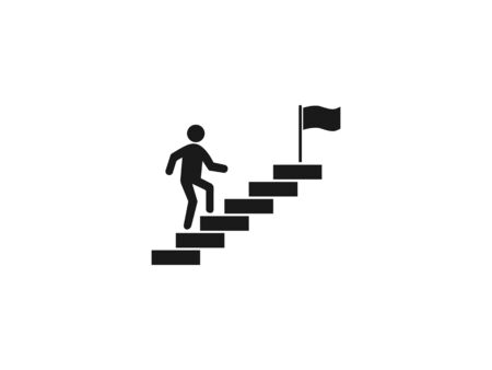 Vector illustration, flat design. Stairs stairwell up icon Stock Illustratie