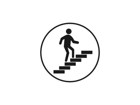Vector illustration, flat design. Stairs stairwell up icon Illustration