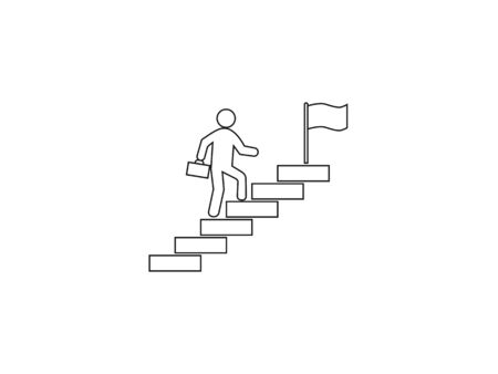 Stairs, stairwell, walks up icon. Vector illustration, flat design.