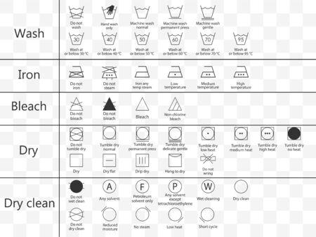 Laundry symbols icon set. Vector illustration, flat design.