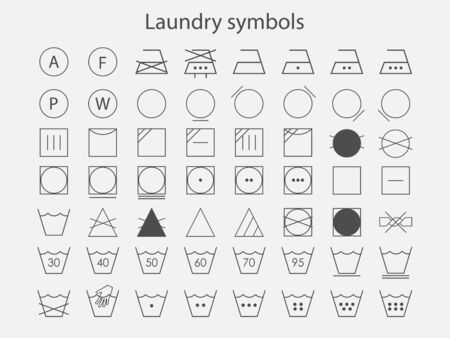 Vector illustration, flat design. Laundry symbols icon set