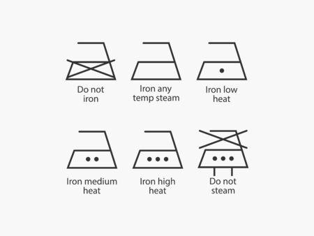 Laundry symbols, ironing icons vector
