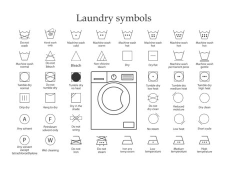 Wäschesymbole Symbolsatz. Vektorillustration, flaches Design.
