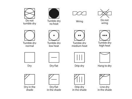 Laundry symbols, drying symbols. Vector illustration, flat design.