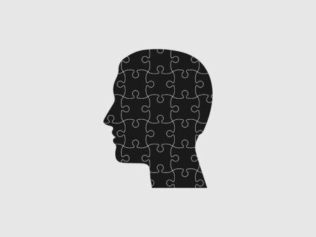 Vector illustration, flat design. Human head puzzle icon