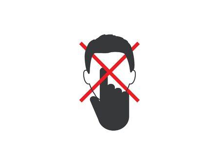 Avoid touching your face. Vector illustration, flat