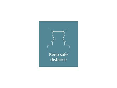 Vector illustration, flat design. Keep safe distance