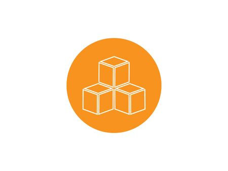 Vector illustration, flat design. Box cube icon