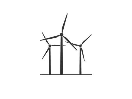Vector illustration, flat design. Wind energy, wind turbine icon.