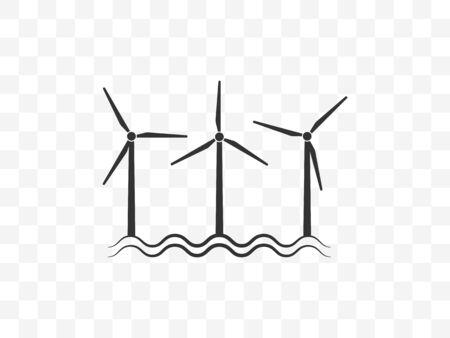 Wind energy, wind turbine icon. Vector illustration, flat design.