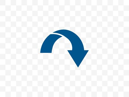 Vector illustration, flat design. Arrow curved icon