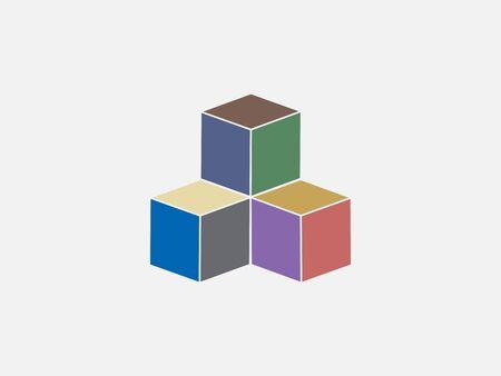 Box, cube icon. Vector illustration, flat design. Illustration