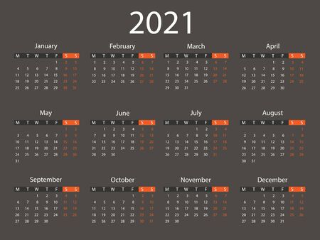 2021 calendar, week starts Monday. Vector illustration, flat design.