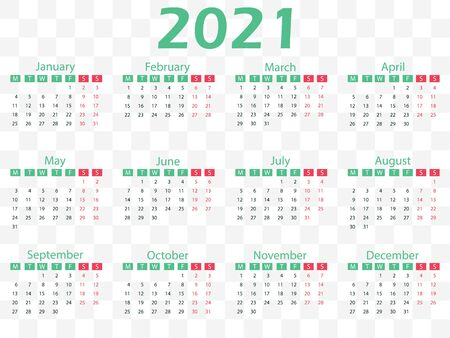 2021 calendar, week starts Monday. Vector illustration, flat design. Фото со стока - 149819971
