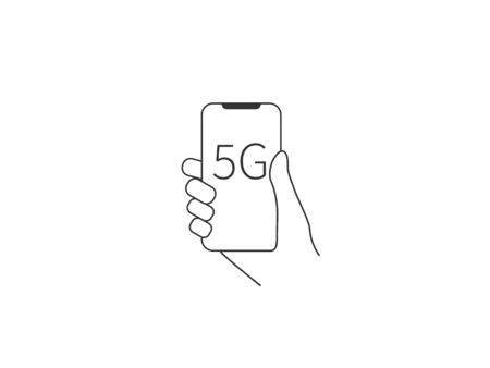 5g, wireless, phone in hand icon. Vector illustration, flat design.