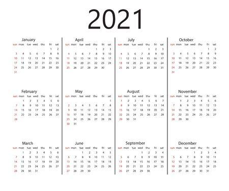 2021 calendar, week starts Sunday flat