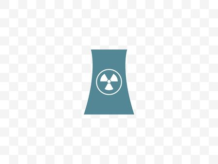 Cooling tower, nuclear plant icon. Vector illustration, flat design.