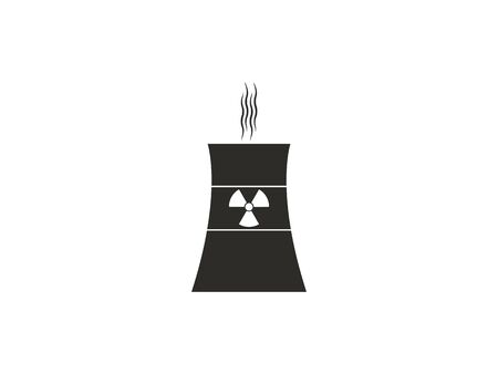 Vector illustration, flat design. Cooling tower, nuclear plant icon Illustration