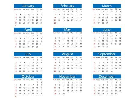 2021 calendar, week starts Sunday flat Фото со стока - 150073732