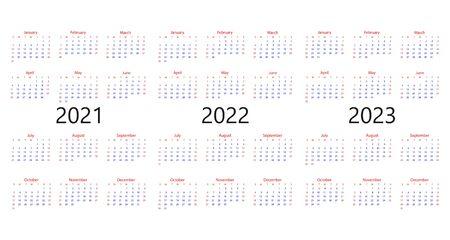 Vector illustration, flat design. 2021, 2022 2023 calendar week Sunday