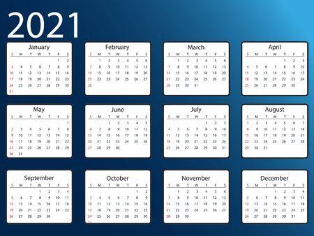 Vector illustration, flat design. 2021 calendar, week starts Sunday