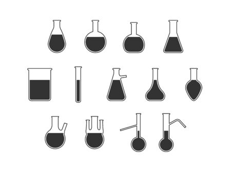 Vector illustration, flat design. Flask laboratory icon