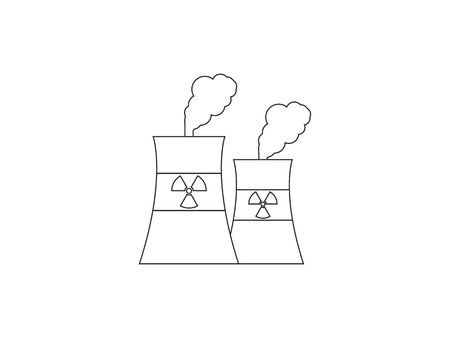 Vector illustration, flat design. Cooling tower, nuclear plant icon Иллюстрация