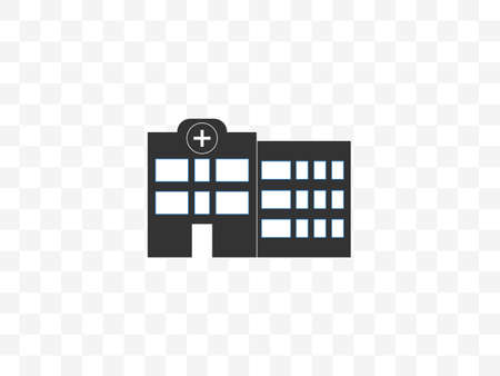 Building, clinic, hospital icon. Vector illustration, flat design.