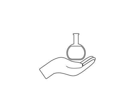 Hand, flask icon. Vector illustration, flat design.