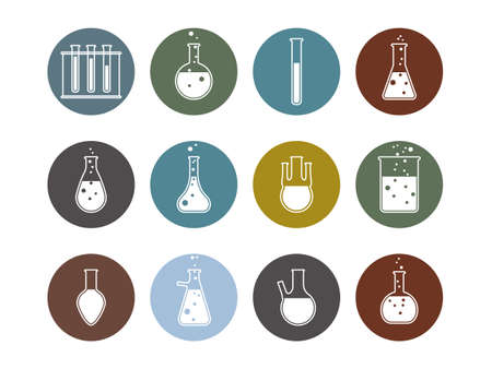 Flask, laboratory icon. Vector illustration, flat design.