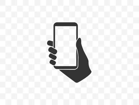 Vector illustration, flat design. Mobile phone in hand Иллюстрация