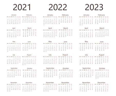 Vector illustration, flat design. 2021, 2022 2023 calendar week Monday