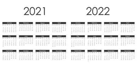 Vector illustration, flat design. 2021, 2022 calendar week starts Monday Иллюстрация