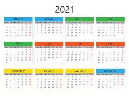 Vector illustration, flat design. 2021 calendar, week starts Monday