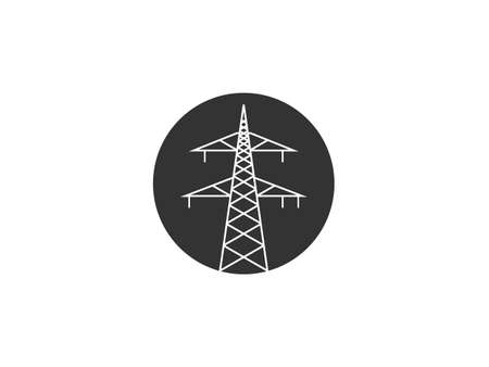 Vector illustration, flat design. Electric tower power icon