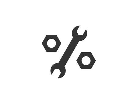 Wrench, nuts, tool icon. Vector illustration, flat design.