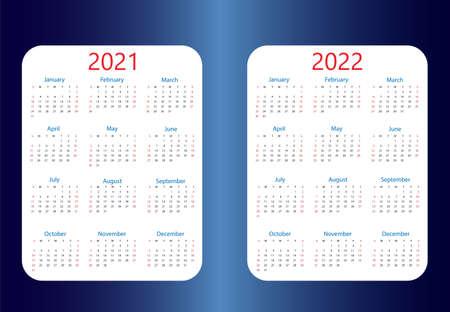 2021, 2022 calendar, week starts Sunday. Vector illustration, flat design.