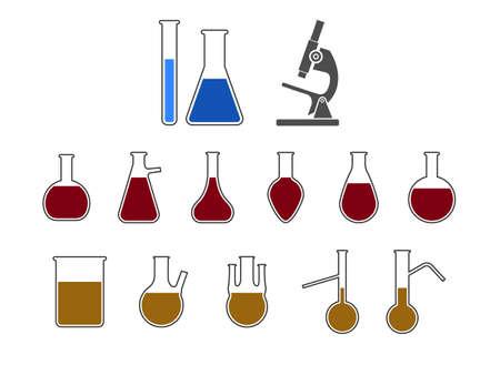 Flask, laboratory icon. Vector illustration, flat design. Фото со стока - 151481324