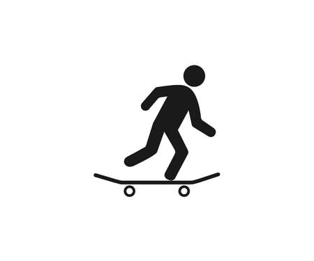 Skateboard, skateboarder icon. Vector illustration, flat design. Illustration
