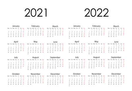 2021, 2022 calendar, week starts Monday. Vector illustration, flat design.