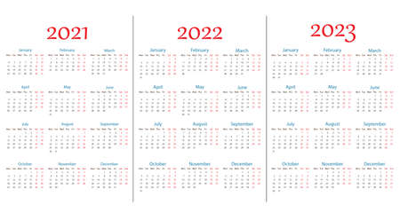 2021, 2022, 2023 calendar, week Monday. Vector illustration, flat design.