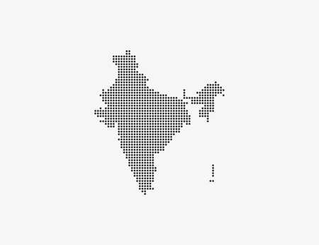 India, country, dotted map on white background. Vector illustration.