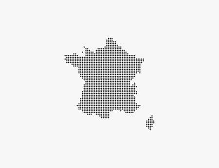 France, country, dotted map on white background. Vector illustration.