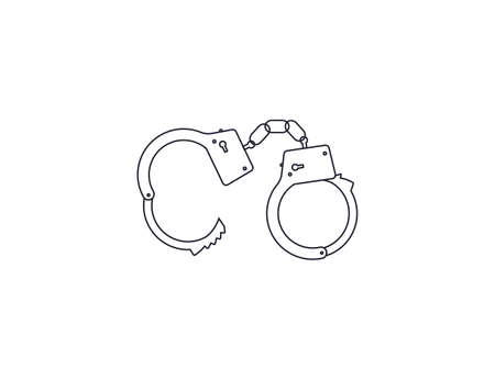 Handcuffs, open, outline icon on white background. Vector. Vectores