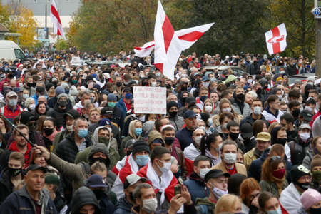 Peaceful demonstration against government violence and electoral fraud in Belarus. Peaceful protest against dictator Lukashenko. 新聞圖片