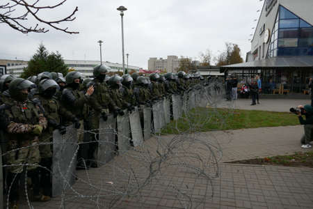 Barbed wire, troops. Peaceful protesting against dictator Lukashenko. Peaceful demonstration against government violence and electoral fraud in Belarus.