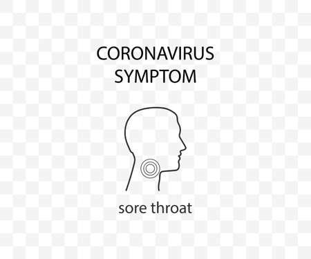Coronavirus symptom, sore throat, covid-19 Vector