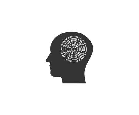 Head, maze, strategy icon on white background. Vector illustration.