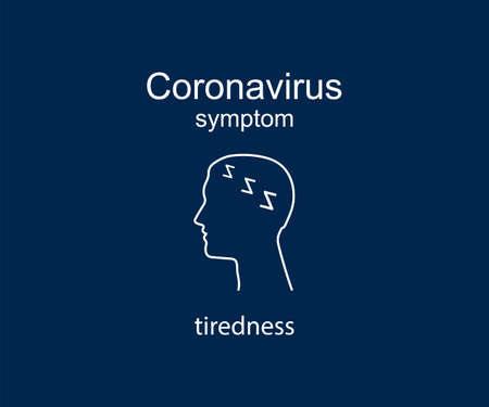 Coronavirus symptom, tiredness, covid-19. Vector illustration, flat. 向量圖像