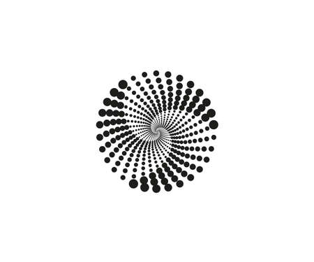 Dotted spiral symbol, a circle. Vector illustration.